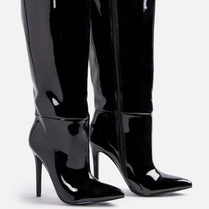 JustFab • Black Leather Knee High Stiletto Boots 8